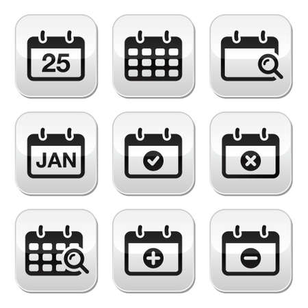 Calendar date buttons set Stock Vector - 18881182