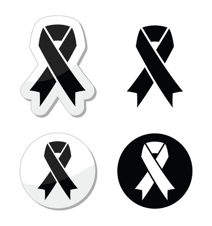 Black ribbon - mourning, death, melanoma symbol Stock Vector - 18881183