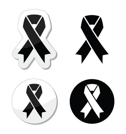 melanoma: Black ribbon - mourning, death, melanoma symbol