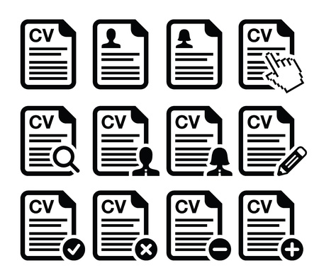 magnyfying glass: CV - Curriculum vitae, resume icons set