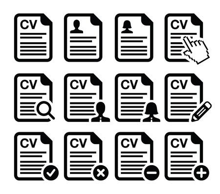 curriculum vitae: CV - Curriculum vitae, resume icons set