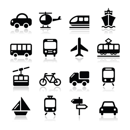 Transport, travel icons set isoalted on white