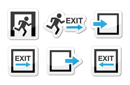 exit emergency sign: Emergency exit icons set Illustration