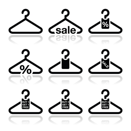 clothing shop: Hanger, sale, buy 1 get 1 free icons set