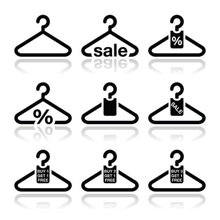 mujer en el supermercado: Percha, venta, compra 1 consigue 1 libre iconos establecidos