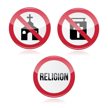 church group: No religion, no church, no bible red warning sign Illustration