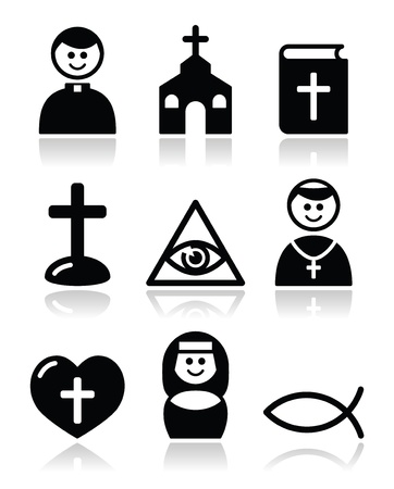 Religion, catholic church icons set Vector