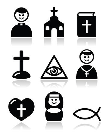 nun: Religion, catholic church icons set