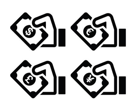 cash money: Hand with money icon - dollar, euro, yen, pound