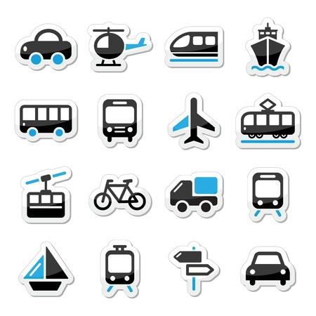 ticket icon: Transport, travel vector icons set isoalated on white Illustration