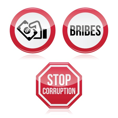 No bribes, sto corruption red warning sign Vector