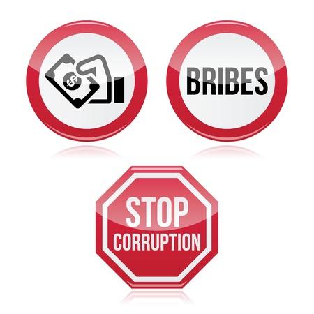 No hay sobornos, corrupción sto rojo señal de advertencia Ilustración de vector