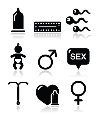 man and woman sex: Contraception methods, sex vector icons sex