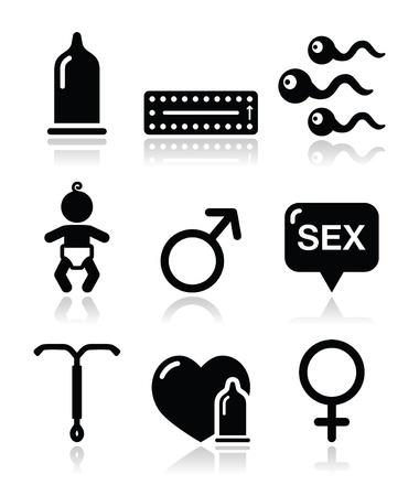 homosexual sex: Contraception methods, sex vector icons sex