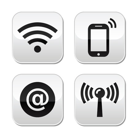 smartphone icon: connection network, internet zone buttons set