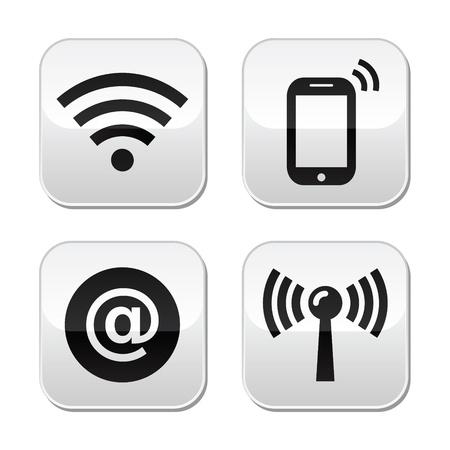 omroep: verbinding netwerk, internet zone knoppen set Stock Illustratie