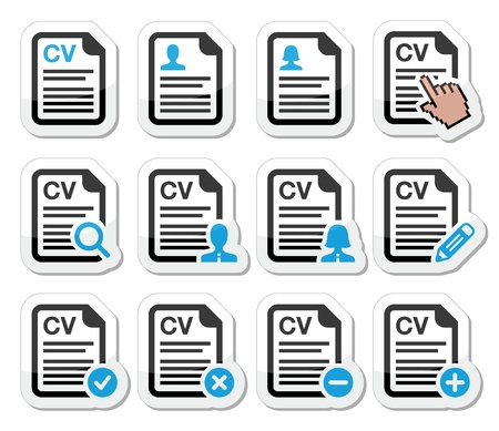 job recruitment: CV - Curriculum vitae, resume icons set