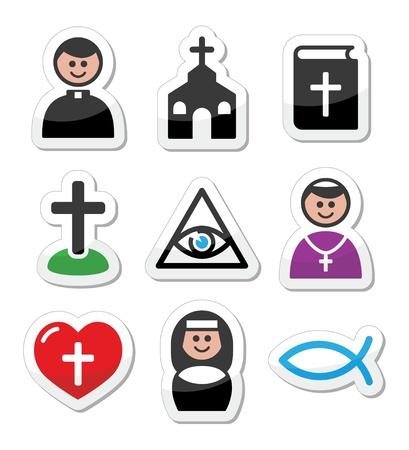 Religión, iconos vectoriales católico establecen