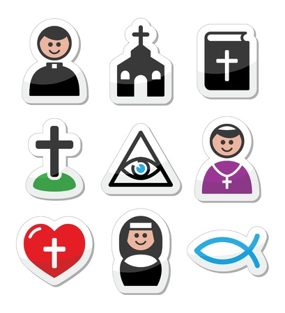 Religion, catholic church vector icons set Vector