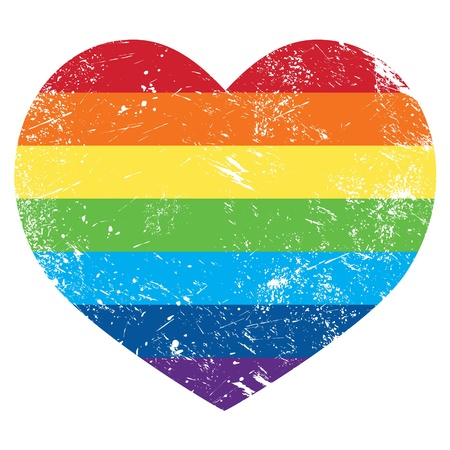 gay couple: Gay rights rainbow retro heart flag Illustration