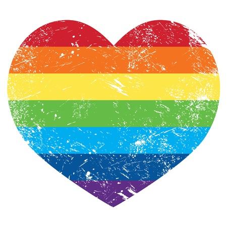 rainbow flag: Gay rights rainbow retro heart flag Illustration