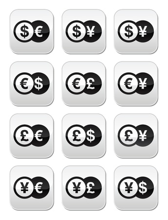 Exchange money buttons set - dollar, euro, yen, pound Vector