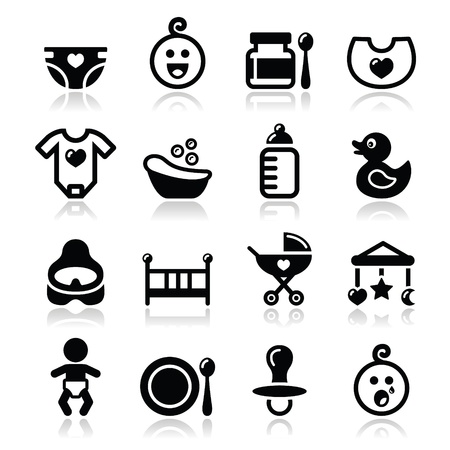 Baby , childhood vector icons set isolated on white Illustration