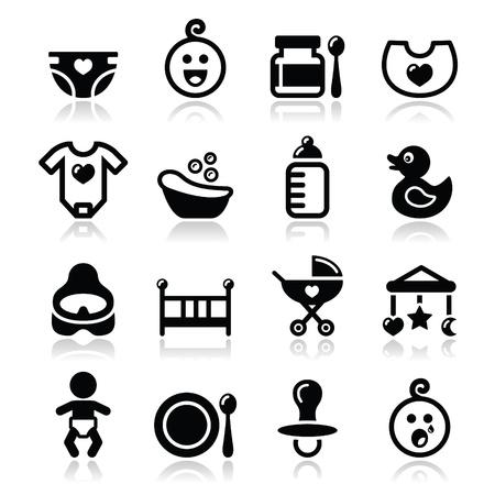 bimbo pannolino: Bambino, icone vettoriali infanzia insieme isolato su bianco