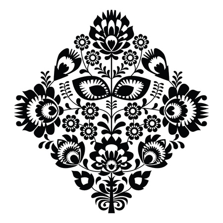 Folk embroidery with flowers - traditional polish pattern in monochrome Stock Vector - 19196074