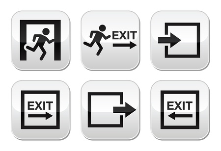 Emergency exit vector buttons set Vector