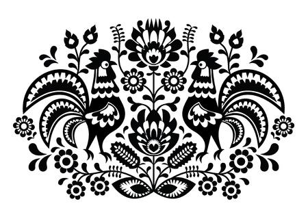 monocrom�tico: Bordado floral polonês com galos - padrão popular tradicional Ilustra��o