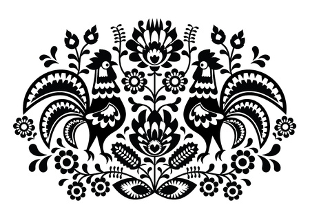 folk art: Polish floral embroidery with roosters - traditional folk pattern