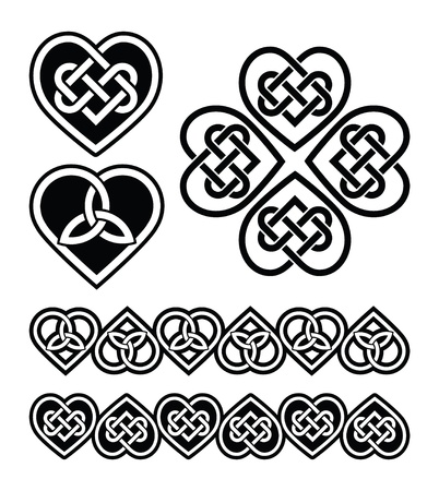 plait: Celtic heart knot - vector symbols set