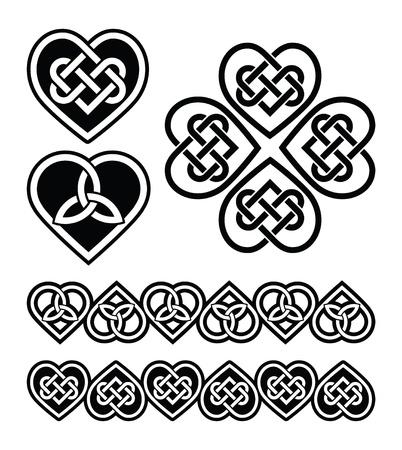 celtica: Cuore nodo celtico - simboli vettoriali set Vettoriali