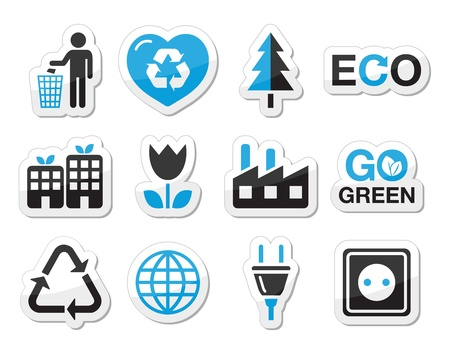 Ecology, green, recycling vector icons set  Vector