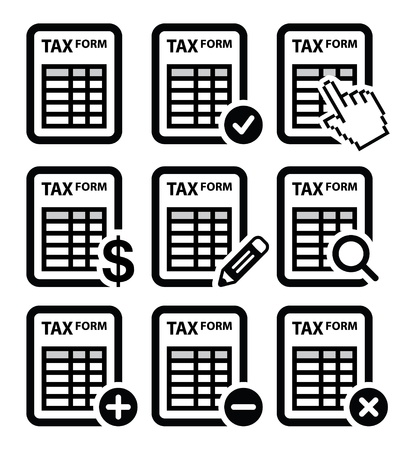 magnyfying glass: Tax form, taxation, finance vector icons set
