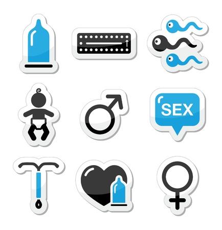 sexo femenino: Métodos anticonceptivos, el sexo vector iconos sexuales