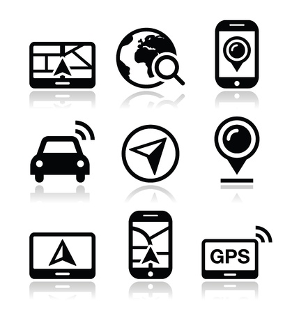 magnyfying glass: GPS, navigation travel vector icons set  Illustration