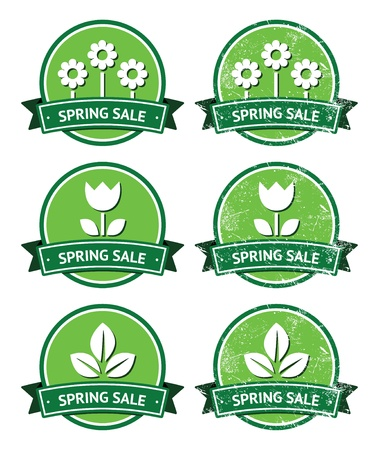Spring sale retro green round labels - grunge style Stock Vector - 19261079