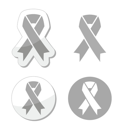 Silver ribbon - children with disabilities, Parkinson s disease awereness sign Stock Vector - 19336404