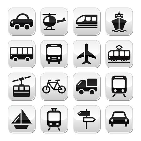 스키: 교통, 여행 버튼 흰색에 고립 된 집합 일러스트
