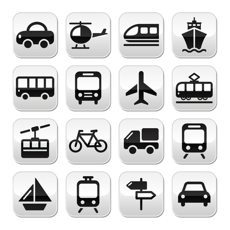Transport, travel buttons set isolated on white