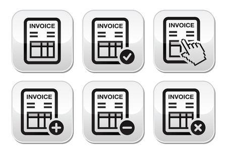 Invoice, finance buttons set Vector