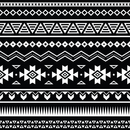 Aztec naadloze patroon, tribal zwarte en witte achtergrond Stock Illustratie