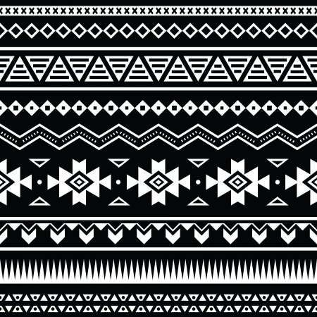 border line: Aztec seamless pattern, tribal black and white background