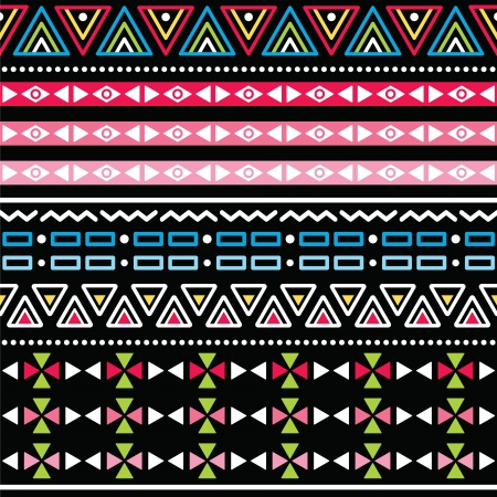 peruvian culture: Tribal aztec colorful seamless pattern
