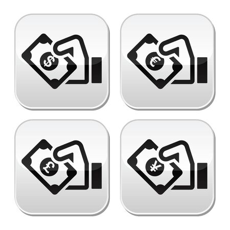 Hand with money buttons set - dollar, euro, yen, pound Stock Vector - 19481514