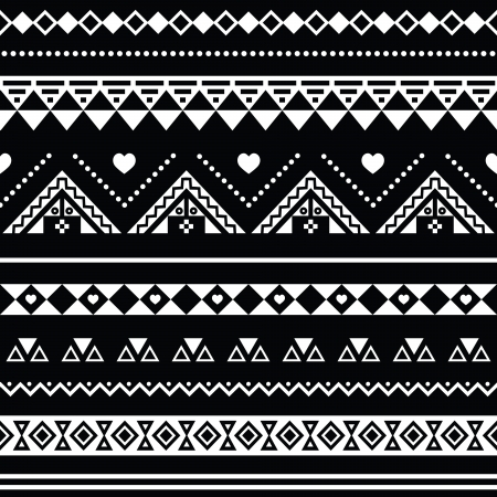 mexican folklore: Aztec seamless pattern, tribal black and white background