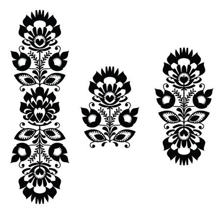 folk culture: Bordado popular - patr�n floral tradicional polaca en blanco y negro Vectores