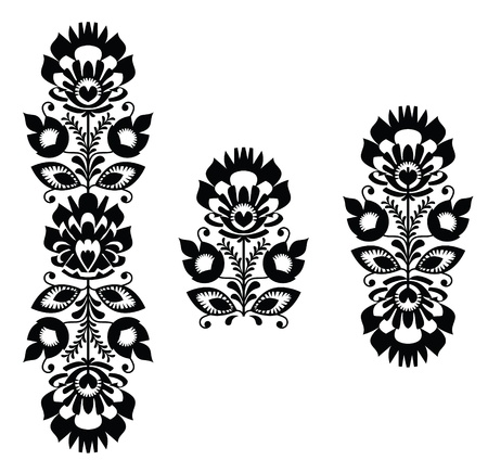 eurpean: Folk embroidery - floral traditional polish pattern in black and white